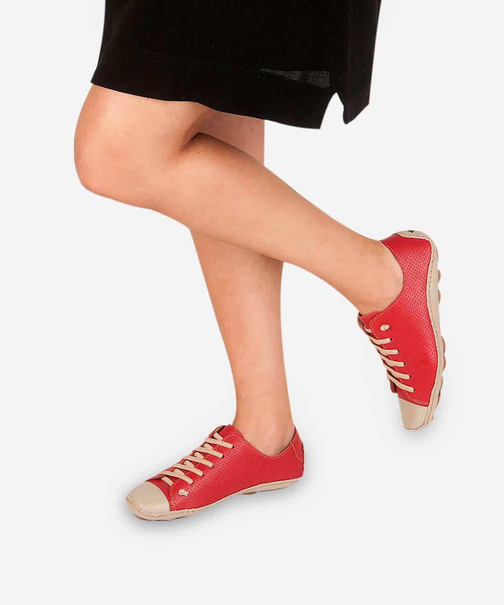 Tênis Comfort Perfuros De Couro - Vermelho