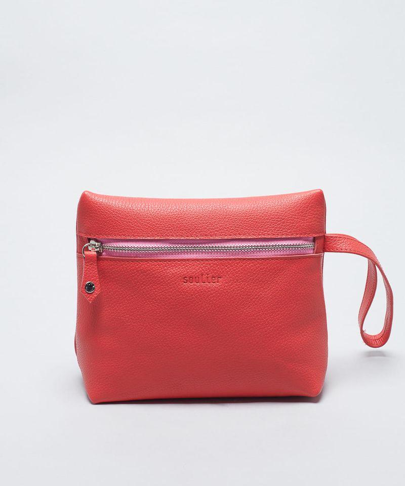 Nécessaire Zíper De Couro - Vermelho - Bicolor u - bicolor